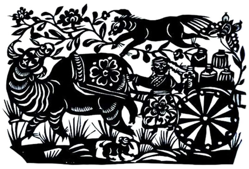 游牧毡帐上缀缝的装饰花纹
